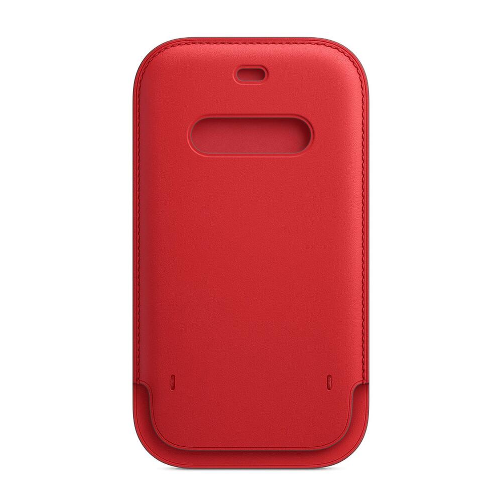 Купить Кожаный чехол-бумажник Apple Leather Sleeve with MagSafe Product Red (MHMR3) для iPhone 12 mini