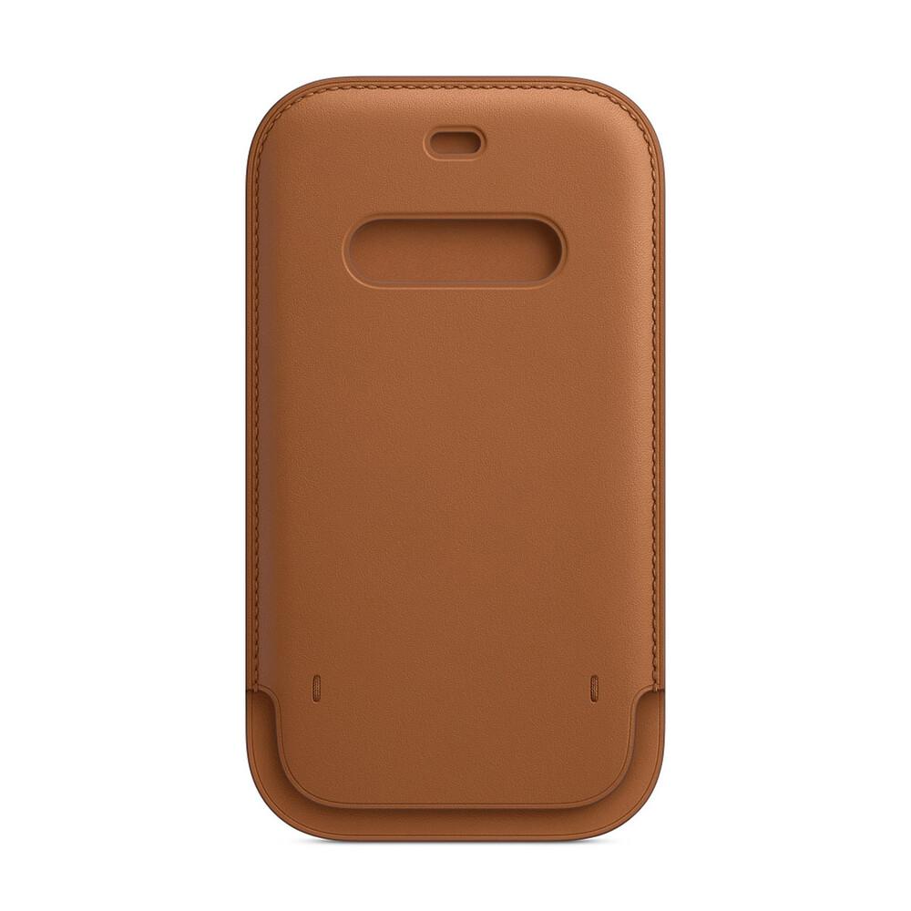 Купить Кожаный чехол-бумажник Apple Leather Sleeve with MagSafe Saddle Brown (MHYG3) для iPhone 12 Pro Max