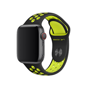 Купить Ремешок Apple Nike Sport Band Black/Volt S/M&M/L (MTMN2) для Apple Watch 40mm/38mm Series 1/2/3/4
