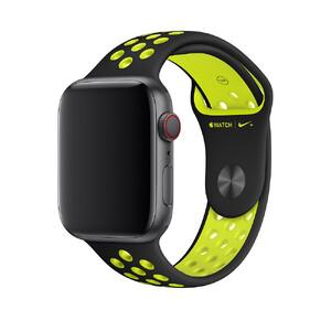 Купить Ремешок Apple Nike Sport Band Black/Volt S/M&M/L (MTMW2) для Apple Watch 44mm/42mm Series 1/2/3/4