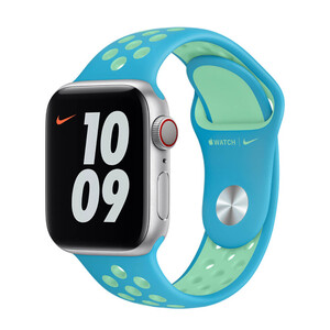 Купить Ремешок Apple Nike Sport Band Chlorine Blue | Green Glow (MJ6L3) для Apple Watch 44mm | 42mm Series SE | 6 | 5 | 4 | 3 | 2 | 1