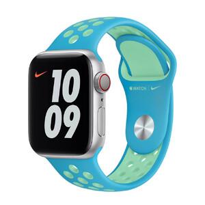 Купить Ремешок Apple Nike Sport Band Chlorine Blue | Green Glow (MJ6H3) для Apple Watch 40mm | 38mm Series SE | 6 | 5 | 4 | 3 | 2 | 1