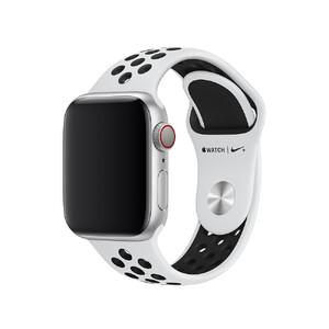 Купить Ремешок Apple Nike Sport Band Pure Platinum/Black S/M&M/L (MQWH2) для Apple Watch 40mm/38mm Series 1/2/3/4