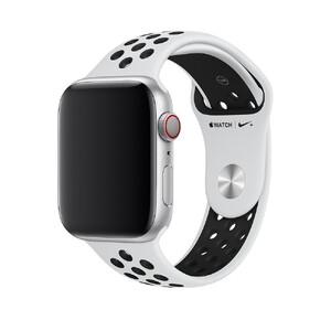 Купить Ремешок Apple Nike Sport Band Pure Platinum/Black S/M&M/L (MTMY2) для Apple Watch 44mm/42mm Series 1/2/3/4