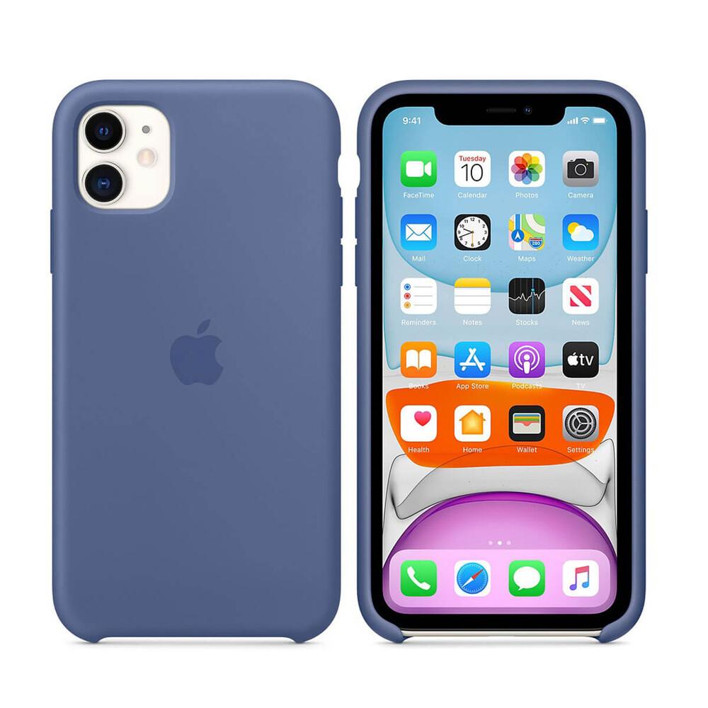 Силиконовый чехол Apple Silicone Case Linen Blue (MY1A2) для iPhone 11