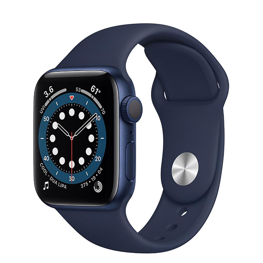 Купить Смарт-часы Apple Watch Series 6 GPS, 40mm Blue Aluminum Case with Deep Navy Sport Band (MG143)