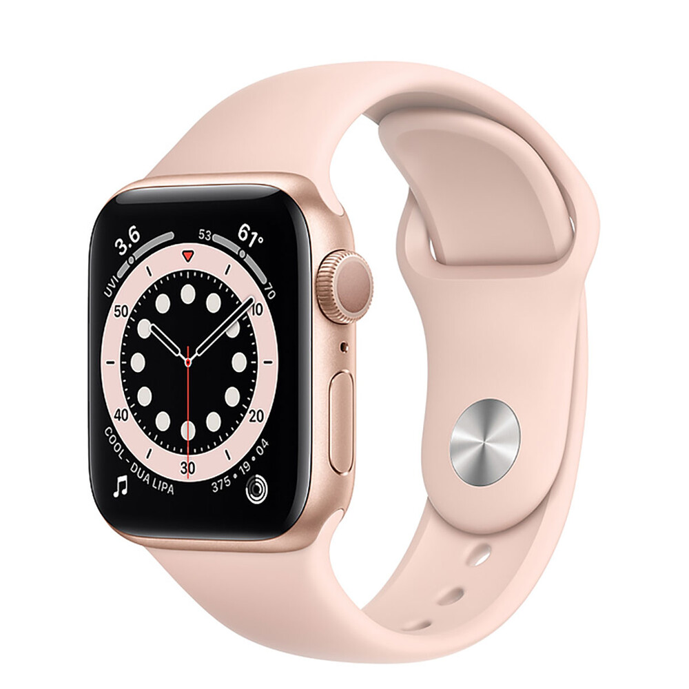 Купить Смарт-часы Apple Watch Series 6 GPS, 40mm Gold Aluminum Case with Pink Sand Sport Band (MG123)