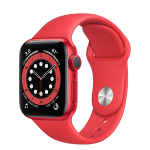 Купить Смарт-часы Apple Watch Series 6 GPS, 40mm Red Aluminum Case with Red Sport Band (M00A3)