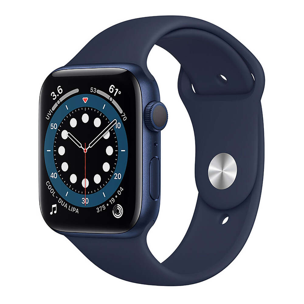 Купить Смарт-часы Apple Watch Series 6 GPS, 44mm Blue Aluminum Case with Deep Navy Sport Band (M00J3)