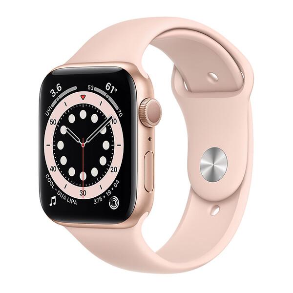Смарт-часы Apple Watch Series 6 GPS, 44mm Gold Aluminum Case with Pink Sand Sport Band (M00E3)