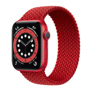 Купить Смарт-часы Apple Watch Series 6 GPS, 44mm Red Aluminum Case with Red Braided Solo Loop (M02H3)