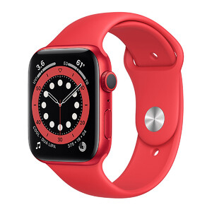 Купить Смарт-часы Apple Watch Series 6 GPS, 44mm Red Aluminum Case with Red Sport Band (M00M3)