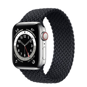 Купить Смарт-часы Apple Watch Series 6 GPS + Cellular, 40mm Silver Stainless Steel Case with Charcoal Braided Solo Loop (M0DC3 | M0DV3)