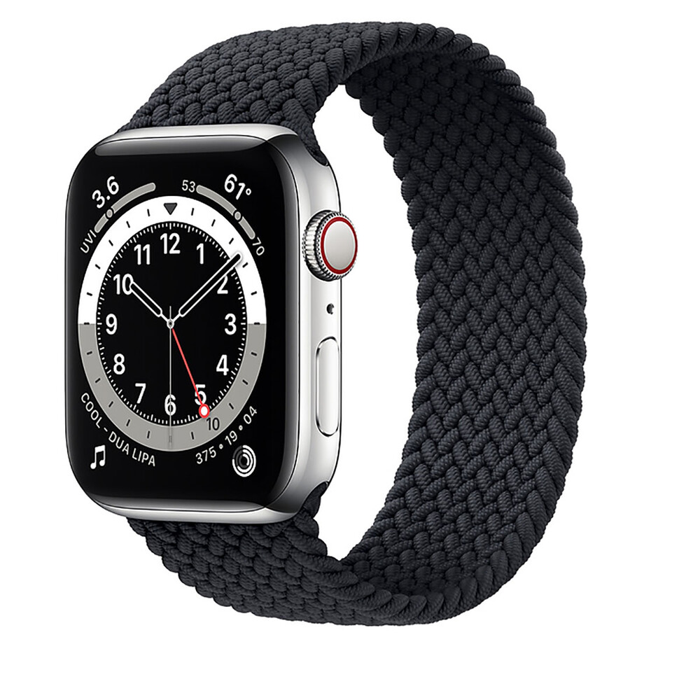 Купить Смарт-часы Apple Watch Series 6 GPS + Cellular, 44mm Silver Stainless Steel Case with Charcoal Braided Solo Loop (M0GF3   M0GW3)