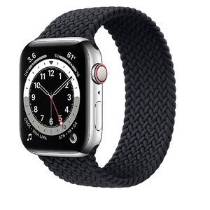 Купить Смарт-часы Apple Watch Series 6 GPS + Cellular, 44mm Silver Stainless Steel Case with Charcoal Braided Solo Loop (M0GF3 | M0GW3)