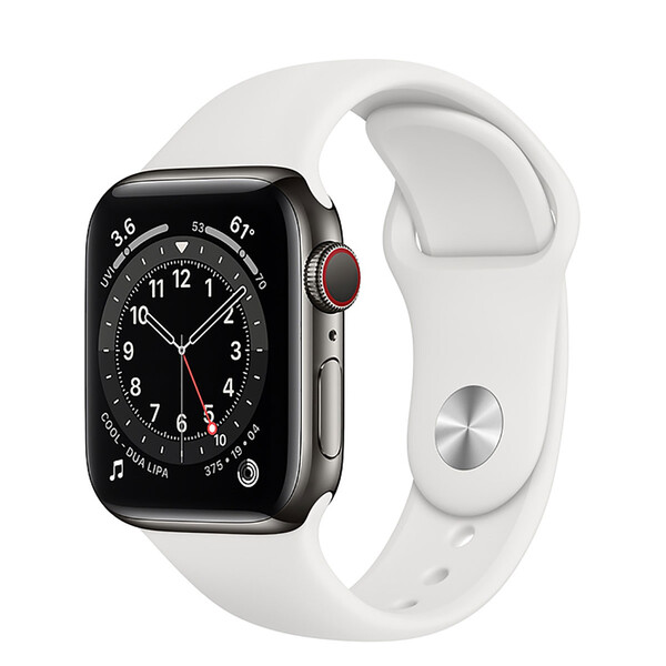 Смарт-часы Apple Watch Series 6 GPS + Cellular, 40mm Graphite Stainless Steel Case with White Sport Band (M0DF3   M06T3)