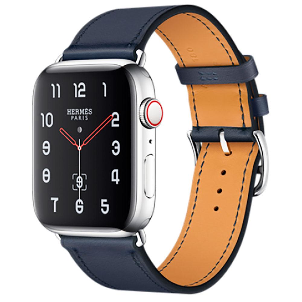 Купить Смарт-часы Apple Watch Hermes Series 4 44mm GPS+LTE Stainless Steel Case Bleu Indigo Swift Leather Single Tour (MU6W2)