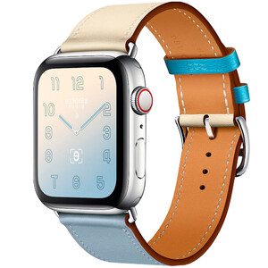 Купить Apple Watch Hermes Series 4 44mm GPS+LTE Stainless Steel Case Bleu Lin/Craie/Bleu du Nord Swift Single Tour (H078728CJAD)