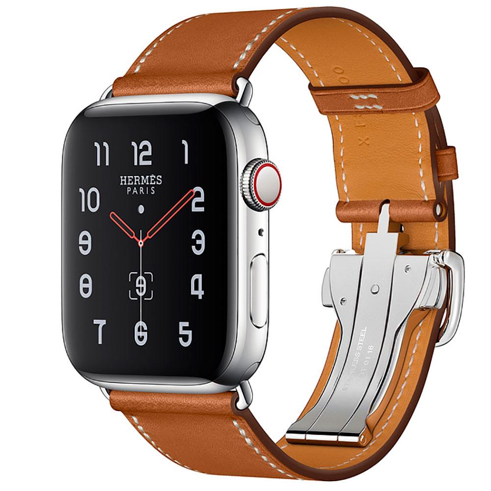 Купить Смарт-часы Apple Watch Hermes Series 4 44mm GPS+LTE Stainless Steel Case Fauve Barenia Leather Single Tour Deployment Buckle (MU6T2)