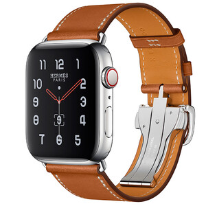 Купить Apple Watch Hermes Series 4 44mm GPS+LTE Stainless Steel Case Fauve Barenia Leather Single Tour Deployment Buckle (MU6T2)