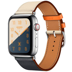 Купить Apple Watch Hermes Series 4 44mm GPS+LTE Stainless Steel Case Indigo/Craie/Orange Swift/Single Tour (MU6X2)