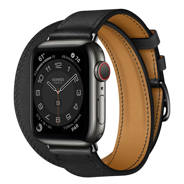 Смарт-часы Apple Watch Hermes Series 6  GPS + Cellular, 40mm Space Black Stainless Steel Case with Noir Swift Leather Double Tour (MJ3V3)