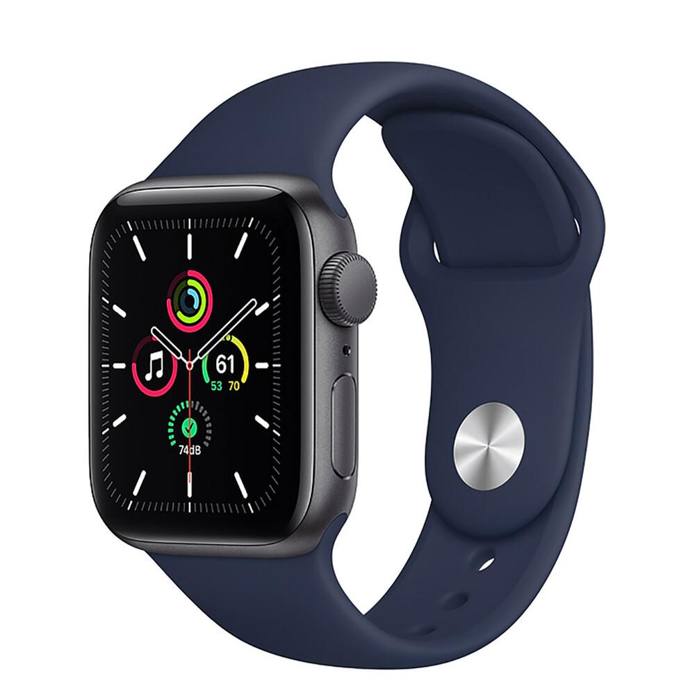 Купить Смарт-часы Apple Watch SE GPS, 40mm Space Gray Aluminum Case with Deep Navy Sport Band (MYE02)