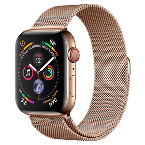 Купить Apple Watch Series 4 40mm GPS+LTE Gold Stainless Steel Case Gold Milanese Loop (MTUT2/MTVQ2)