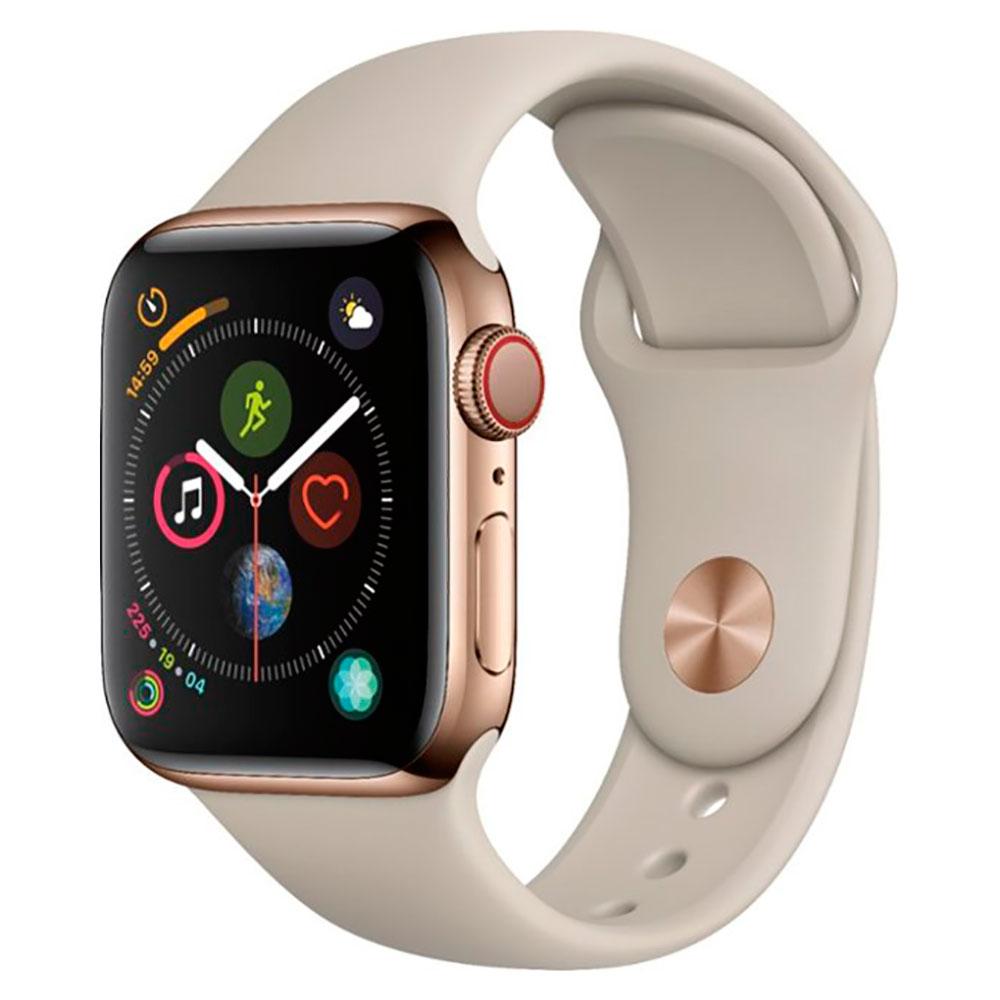Купить Смарт-часы Apple Watch Series 4 40mm GPS+LTE Gold Stainless Steel Case Stone Sport Band (MTUR2 | MTVN2)