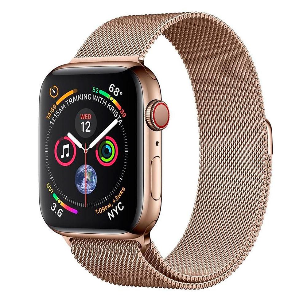 Купить Смарт-часы Apple Watch Series 4 44mm GPS+LTE Gold Stainless Steel Case Gold Milanese Loop (MTV82 | MTX52)