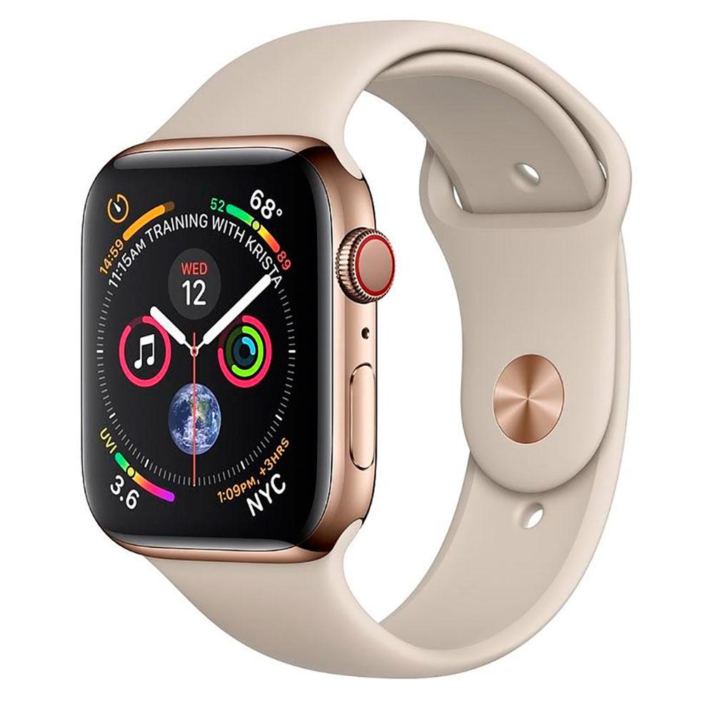 Купить Смарт-часы Apple Watch Series 4 44mm GPS+LTE Gold Stainless Steel Case Stone Sport Band (MTV72 | MTX42)