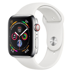 Купить Смарт-часы Apple Watch Series 4 44mm GPS+LTE Stainless Steel Case White Sport Band (MTV22/MTX02)