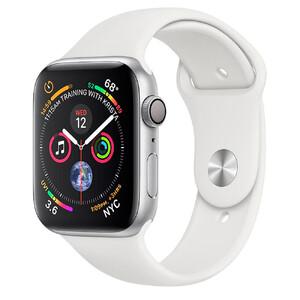 Купить Apple Watch Series 4 44mm GPS+LTE Silver Aluminium Case White Sport Band (MTUU2)