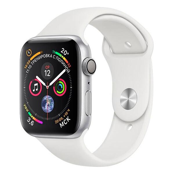Смарт-часы Apple Watch Series 4 44mm GPS Silver Aluminum Case White Sport Band (MU6A2)