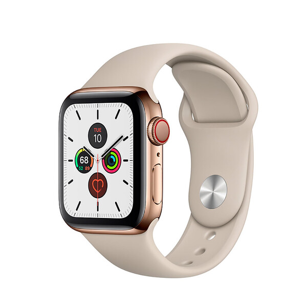 Смарт-часы Apple Watch Series 5 40mm Gold Stainless Steel Case Stone Sport Band (MWWU2)