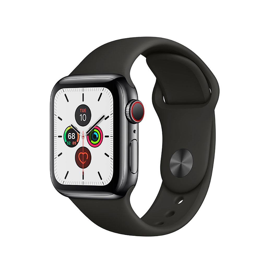 Купить Смарт-часы Apple Watch Series 5 40mm Space Black Stainless Steel Case Black Sport Band (MWWW2)