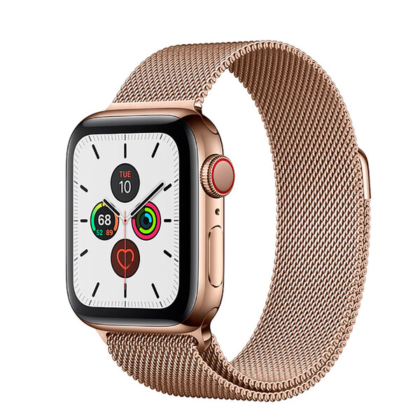 Смарт-часы Apple Watch Series 5 44mm Gold Stainless Steel Case Milanese Loop (MWW62)