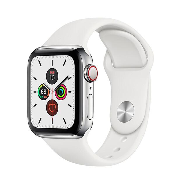 Смарт-часы Apple Watch Series 5 44mm Silver Stainless Steel Case White Sport Band (MWW22)