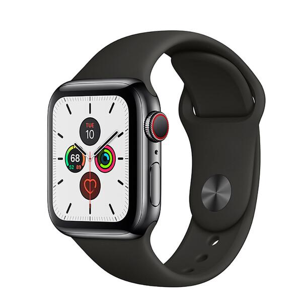 Смарт-часы Apple Watch Series 5 44mm Space Black Stainless Steel Case Black Sport Band (MWW72)