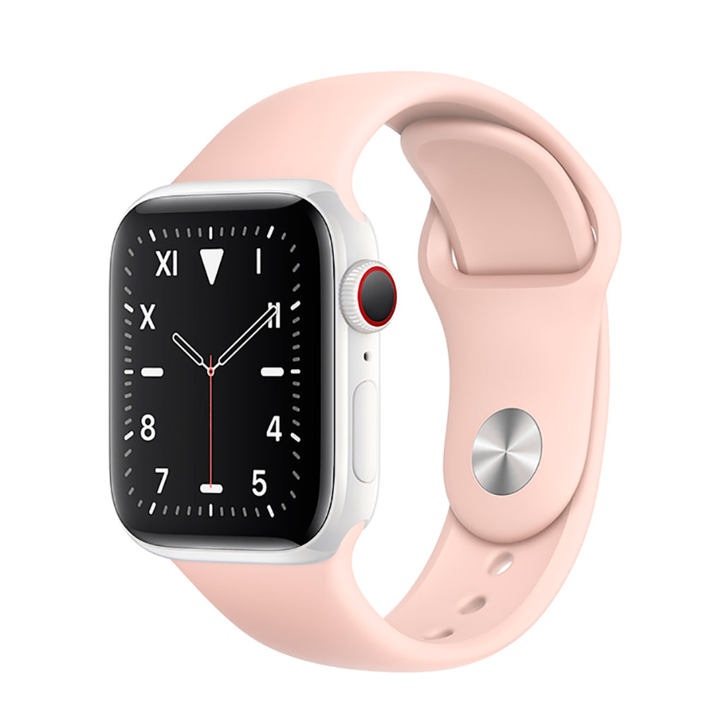Купить Смарт-часы Apple Watch Series 5 44mm White Ceramic Case Pink Sand Sport Band (MWQU2)