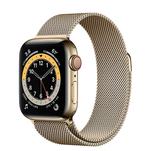 Смарт-часы Apple Watch Series 6 GPS + Cellular, 40mm Gold Stainless Steel Case with Gold Milanese Loop (M02X3   M06W3)