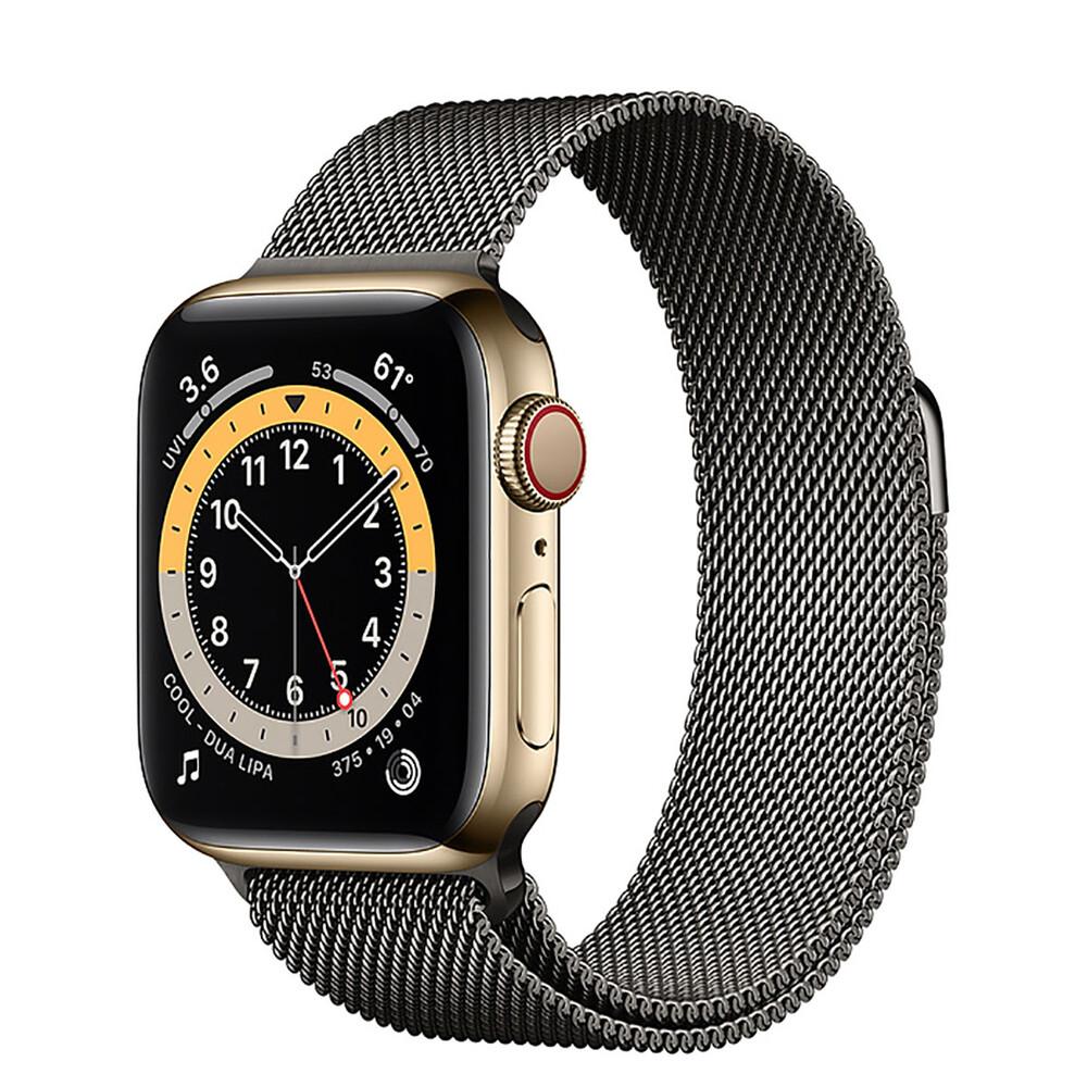 Купить Смарт-часы Apple Watch Series 6 GPS + Cellular, 40mm Gold Stainless Steel Case with Graphite Milanese Loop (MOD93   MODU3)