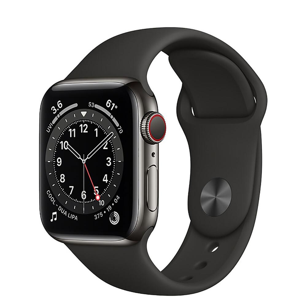 Купить Смарт-часы Apple Watch Series 6 GPS + Cellular, 40mm Graphite Stainless Steel Case with Black Sport Band (M02Y3   M06X3)