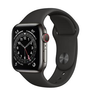 Купить Смарт-часы Apple Watch Series 6 GPS + Cellular, 40mm Graphite Stainless Steel Case with Black Sport Band (M02Y3/M06X3)