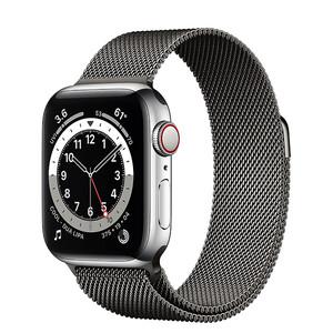 Купить Смарт-часы Apple Watch Series 6 GPS + Cellular, 40mm Silver Stainless Steel Case with Graphite Milanese Loop (M0DC3/M0DV3)