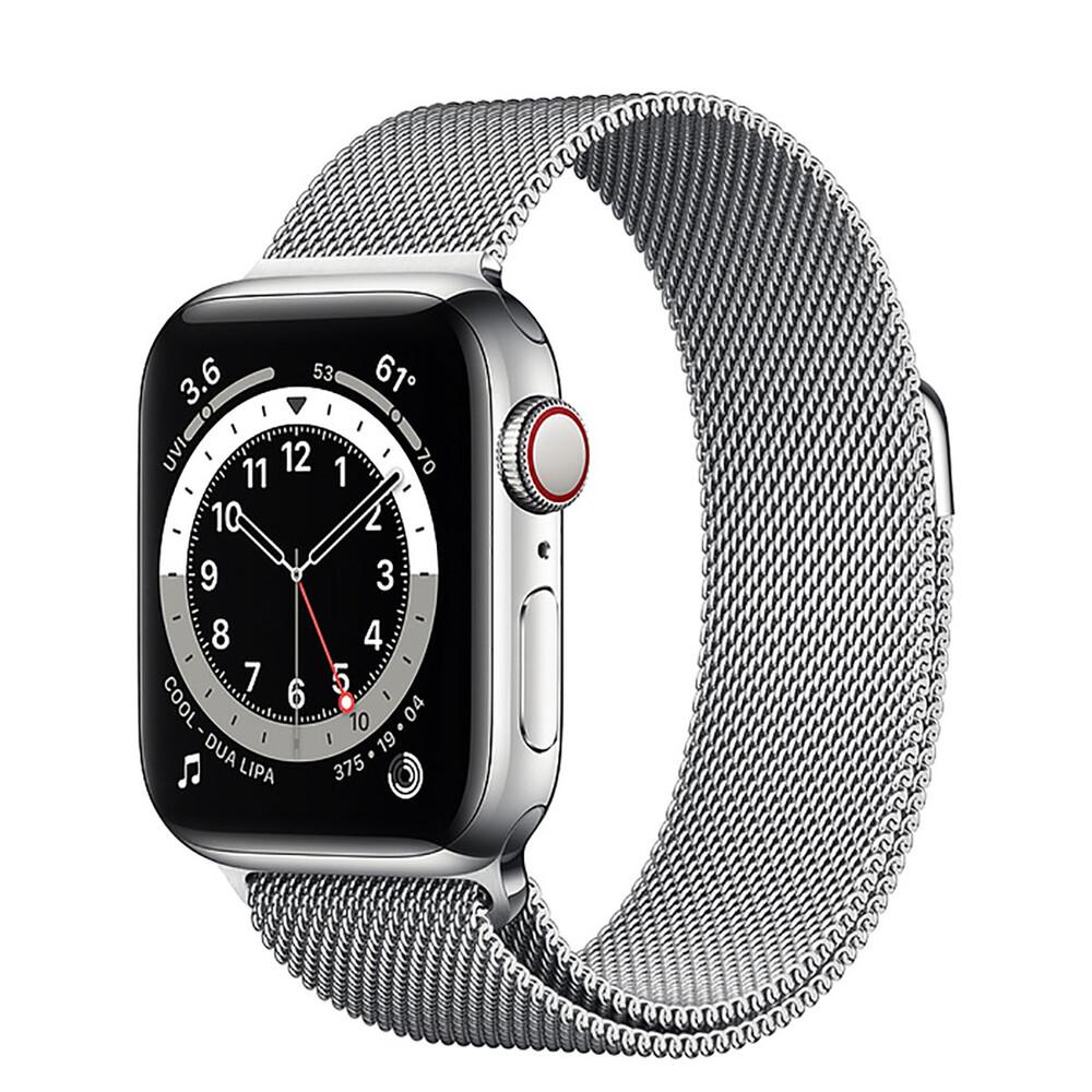 Купить Смарт-часы Apple Watch Series 6 GPS + Cellular, 40mm Silver Stainless Steel Case with Silver Milanese Loop (M02V3   M06U3)
