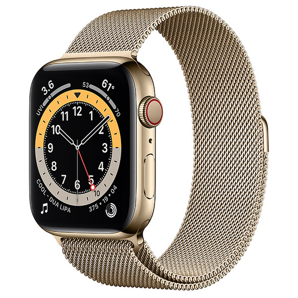 Смарт-часы Apple Watch Series 6 GPS + Cellular, 44mm Gold Stainless Steel Case with Gold Milanese Loop (M07P3   M09G3)