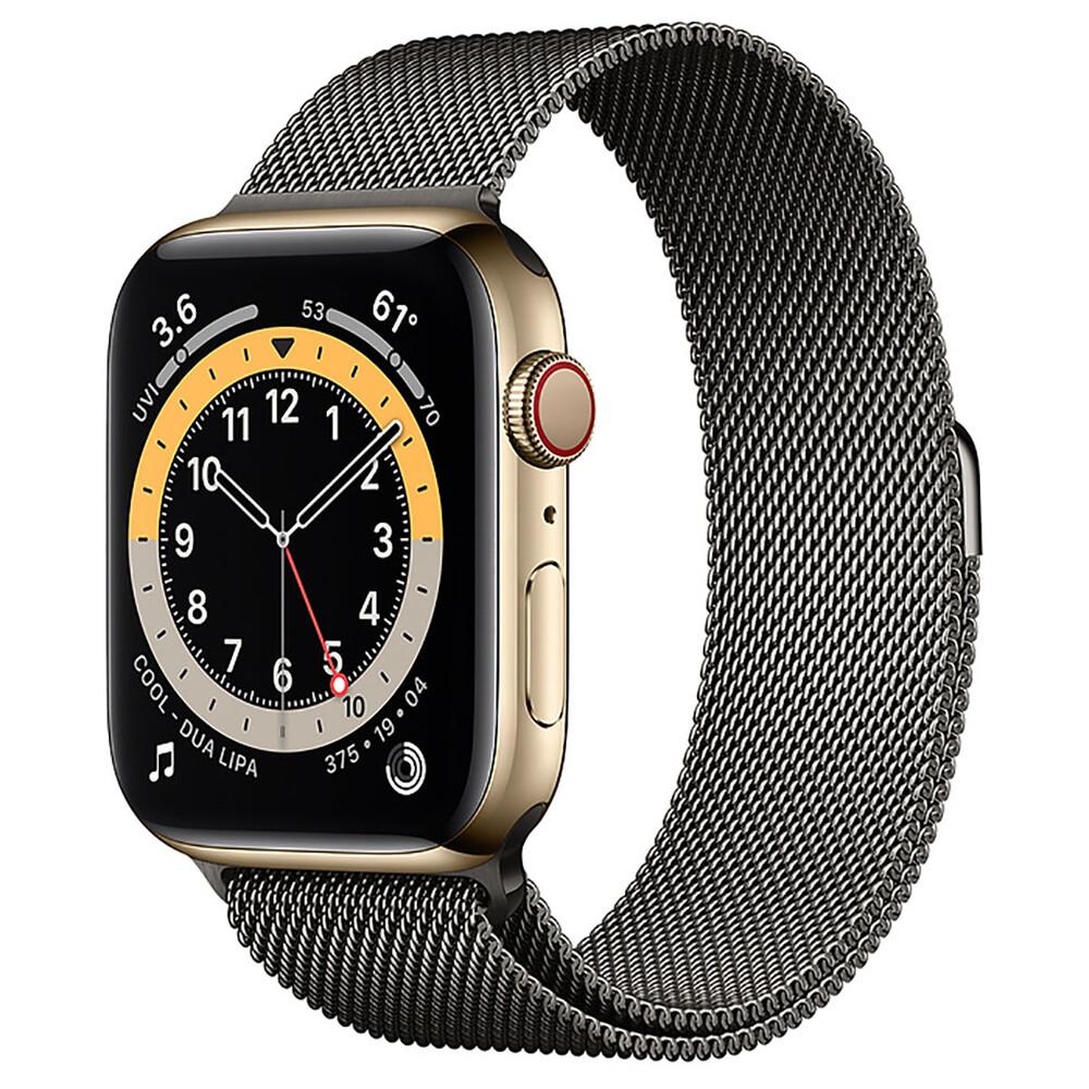 Купить Смарт-часы Apple Watch Series 6 GPS + Cellular, 44mm Gold Stainless Steel Case with Graphite Milanese Loop (M0GD3   M0GV3)
