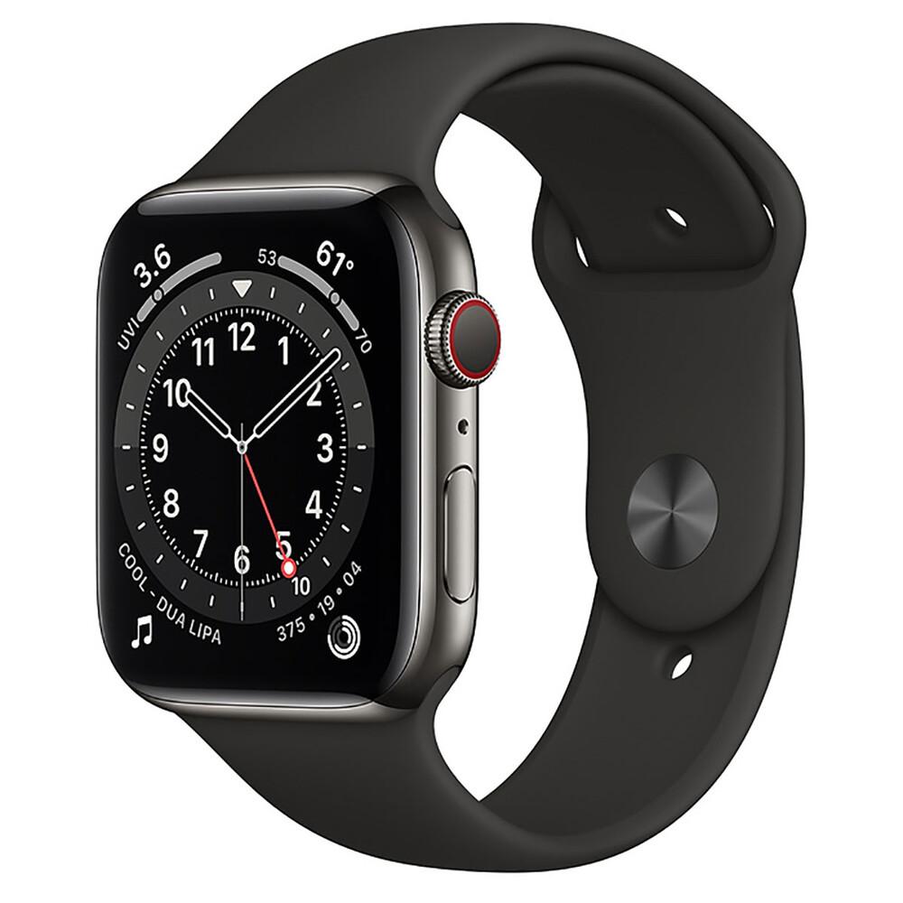 Купить Смарт-часы Apple Watch Series 6 GPS + Cellular, 44mm Graphite Stainless Steel Case with Black Sport Band (M07Q3   M09H3)