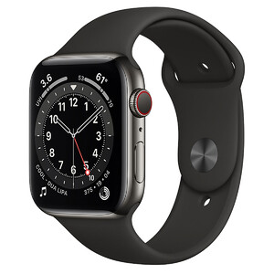 Купить Смарт-часы Apple Watch Series 6 GPS + Cellular, 44mm Graphite Stainless Steel Case with Black Sport Band (M07Q3/M09H3)